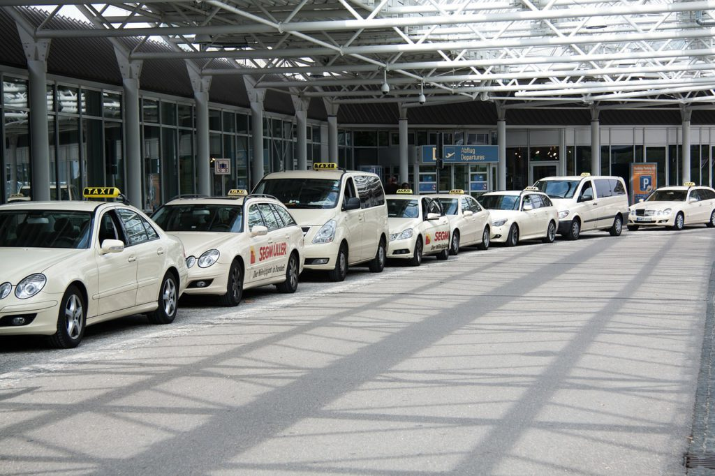 Taxis waiting outside Terminal 1 of Munich International Airport