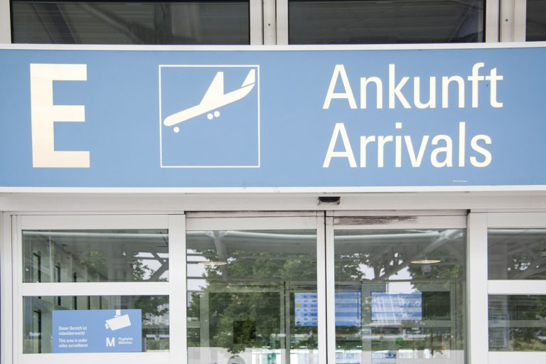 Munich Airport Arrival sign